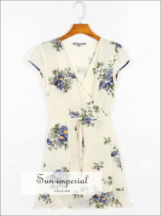Vintage Cream with Blue Flowers Print Tie Waist Mini Dress Short Sleeve Wrap SUN-IMPERIAL United States