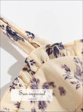 Vintage Cream with Purple Floral Print Summer Dress Cami Strap Corset Style Refulle Detailing summer strap corset style refulle detailing