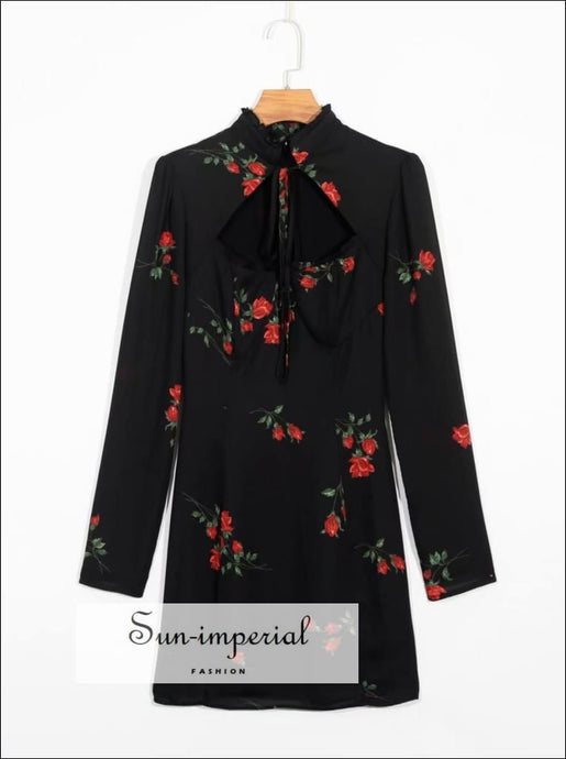 Vintage Cut out Neckline Rose Print Black Long Sleeve Mini Dress SUN-IMPERIAL United States