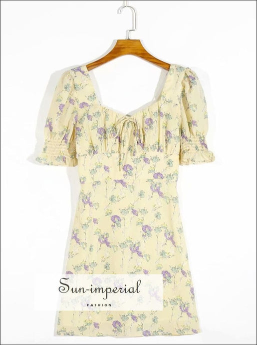 Vintage Flare Short Sleeve Cream Mini Dress Purple Floral Print Center Bow Summer mini dress SUN-IMPERIAL United States