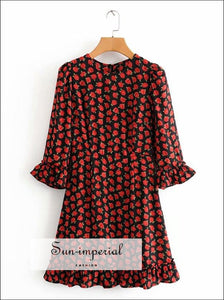 Vintage Flare Sleeve Red Rose Print Short Sleeve O Neck Mini A-line Dress