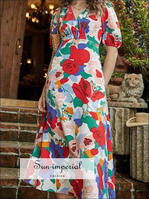 Vintage Floral Midi Dress with Short Sleeve V Neck Buttoned Blue Red Print midi red SUN-IMPERIAL United States