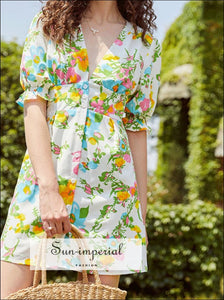 Vintage Floral Mini Dress with Short Flare Sleeve V Neck Buttoned Blue Yellow Print floral dress short flare sleeve mini Summer SUN-IMPERIAL