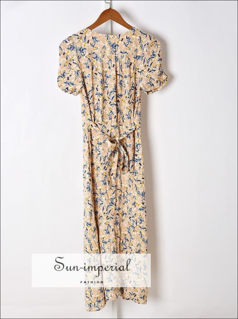 Vintage Floral Print Short Sleeve Single-breasted Split Midi Dress with Tie Waist detail vintage style SUN-IMPERIAL United States