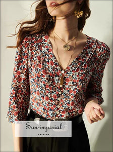Vintage Floral Print Women Button-down 3/4 Sleeve Blouse Casual top vintage style SUN-IMPERIAL United States