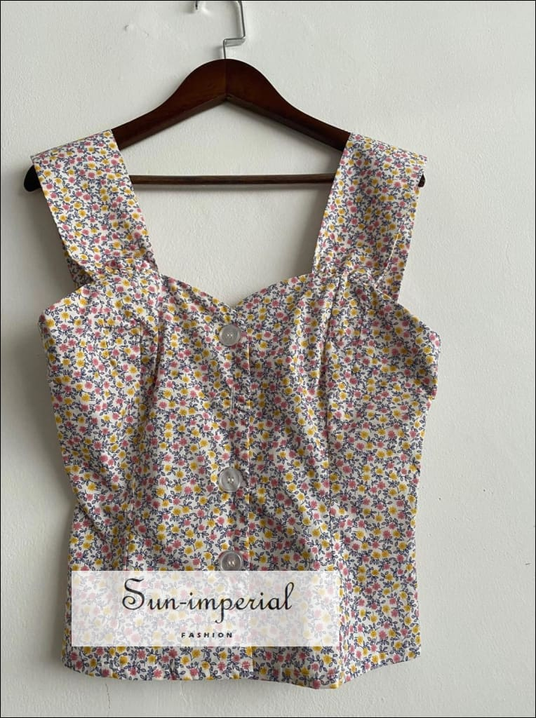 Vintage Floral Printed Buttoned Camisole top with Sweetheart Neckline Shirred Elastic back vintage style, women camisole floral SUN-IMPERIAL