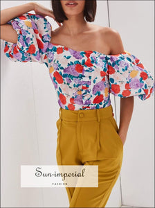 Vintage Floral Puff Sleeve Crop top side Ruffles Blouse Women Backless Tie backless, blouse, cut out, out back, floral print SUN-IMPERIAL