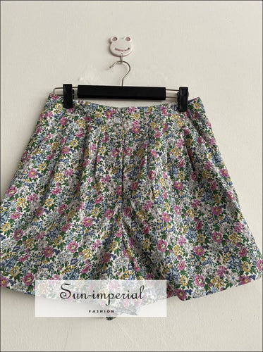 Vintage Green Floral Summer Women High Waist Shorts with side Pockets vintage style SUN-IMPERIAL United States
