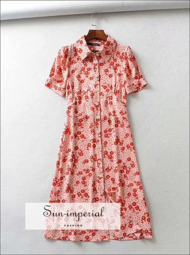 Vintage Flower Print Buttoned Midi Dress Short Sleeve Collar SUN-IMPERIAL United States