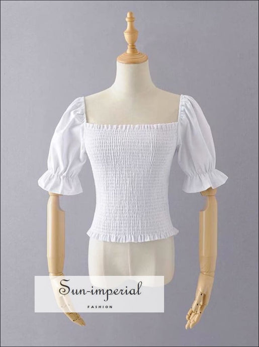 Vintage French Style Women White top Elastic back Half Puff Sleeve top Square Neck