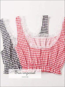 Vintage Girl Feelings Sun-imperial Crop Plaid Tank top with Lace High Street Fashion