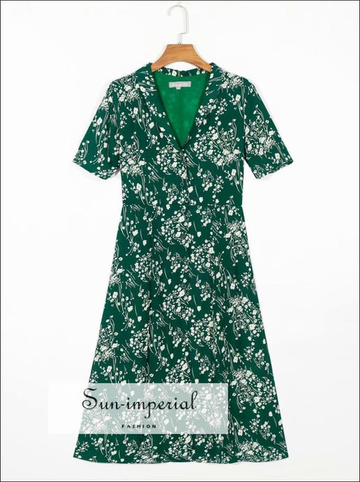 Vintage Green Floral Print Chiffon Midi Dress Chic Turn Down Collar Buttoned Short Sleeve