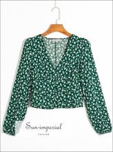 Vintage Green Floral Print Women Long Sleeve Buttoned V Neck Blouse long sleeve buttoned neck women blouse SUN-IMPERIAL United States