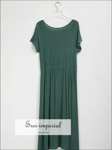 Vintage Green O Neck Casual Backless Women Short Sleeve Midi Dress with Lace and side Slit detail backless, backless maxi dress, Basic