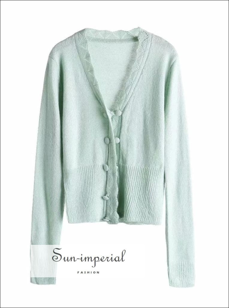 Vintage Green Women Sweater Wave Decor Center Buttoned Knitted Cardigan