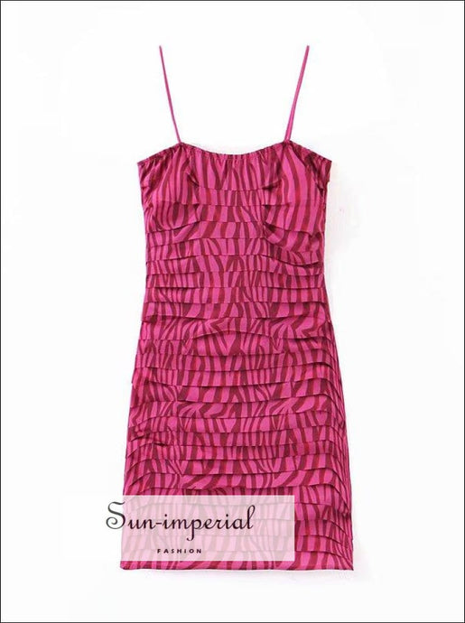 Vintage Hot Pink Tiger Print Cami Strap Bodycon Fit Mini Dress