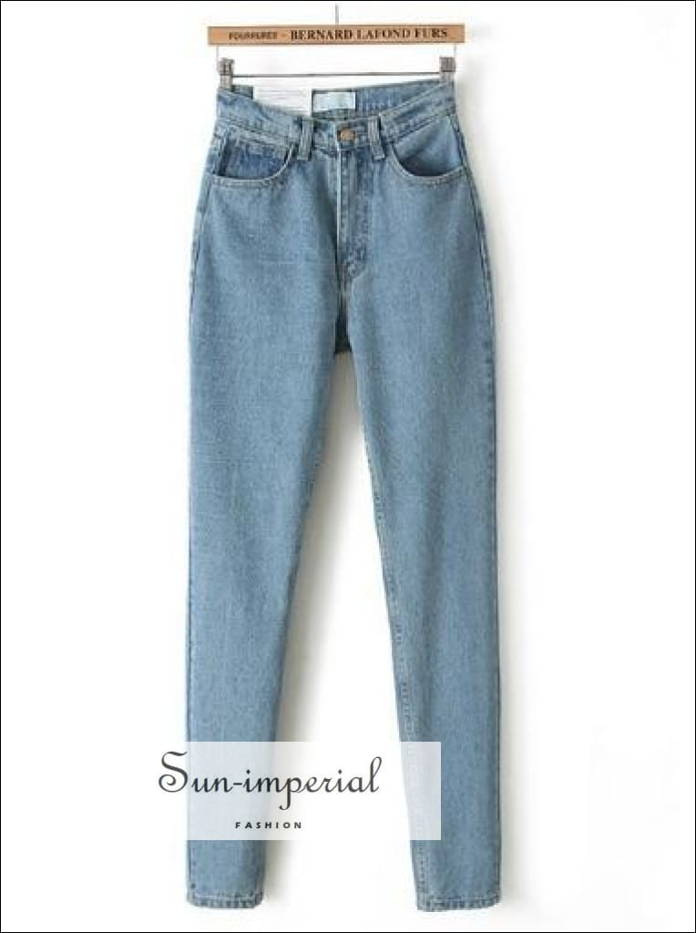 Vintage Ladies High Waist Jeans Black Pencil Casual Denim Pants Light Blue Jeans Boyfriend Jeans