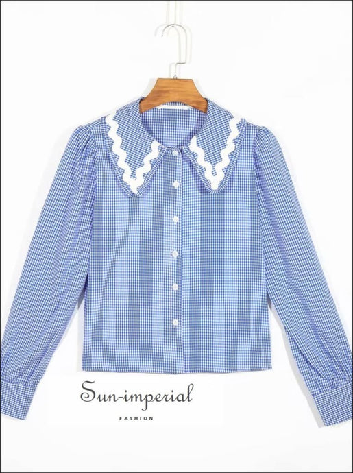 Vintage Lapel Collar Long Sleeve Blue Plaid Blouse Buttoned Check top laple collar, plaid long sleeve blue buttoned top, vintage style