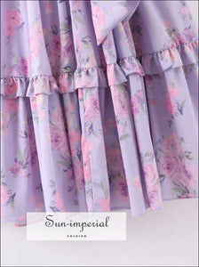 Vintage Lavender Floral Maxi Puff Sleeve Dress Ruffles Decor Dress