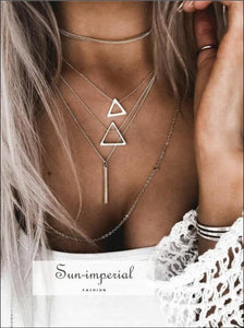 Vintage Multi Layers Triangle Geometric Silver Pendant Chain Choker Necklace for Women