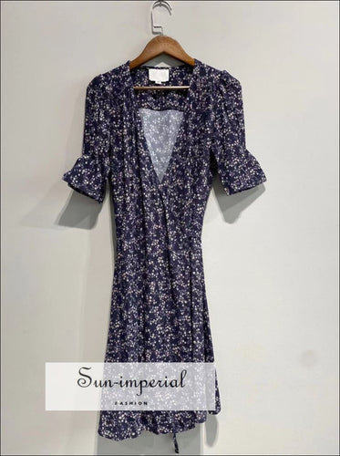 Vintage Navy Blue Wrap Floral Short Sleeve Mini Dress vintage style, Dress, vintagestyle, vintge style SUN-IMPERIAL United States