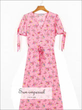 Vintage Pink Short Sleeve Midi Dress with Deep V Neckline Floral Print Summer Dress
