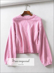 Vintage Pink Women Knitted Oversized Cropped Sweater