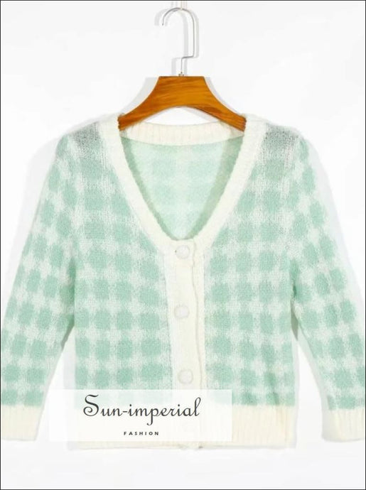 Vintage Plaid Woolen Knitted Short Sleeve Cardigan