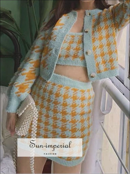 Vintage Plaid Yellow Blue Cardigan Skirt Three Piece Set SUN-IMPERIAL United States