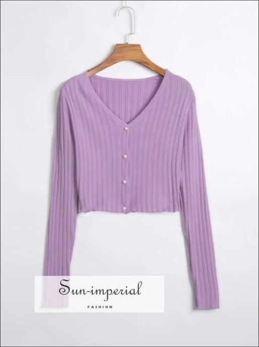 Vintage Purple Crop Cardigan Sweater with Pearl Buttons Knit