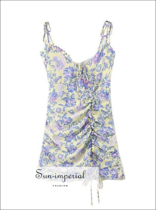 Vintage Purple Yellow Floral Print Cami Strap Mini Dress Drawstring Summer Dress