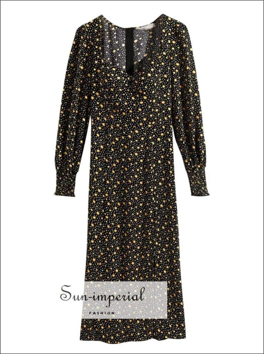 Vintage Romance Floral Dress Women Summer Square Collar Long Sleeve Sliting Elegant SUN-IMPERIAL United States
