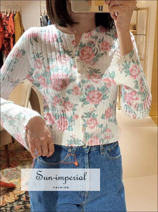 Vintage Rose Print Women Knitted Cardigan Flare Sleeve O-neck Single-breasted top vintage style SUN-IMPERIAL United States