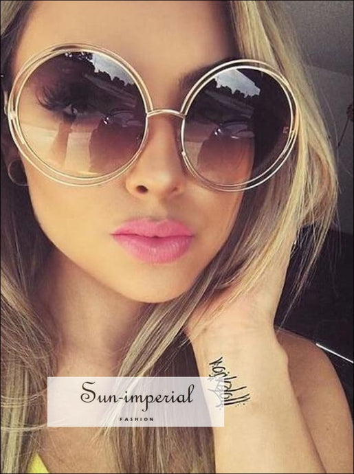 Vintage Round Big Size Oversized Lens Mirror Sunglasses Women Metal Frame Sun Glasses SUN-IMPERIAL United States