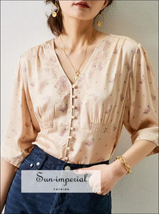 Vintage Satin Pink Women Blouse with Floral Print V-neck Half Sleeve top vintage style SUN-IMPERIAL United States