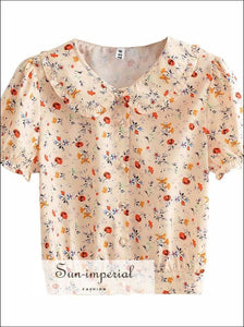 Beige Floral Vintage Short Sleeve Blouse Center Buttoned Women top