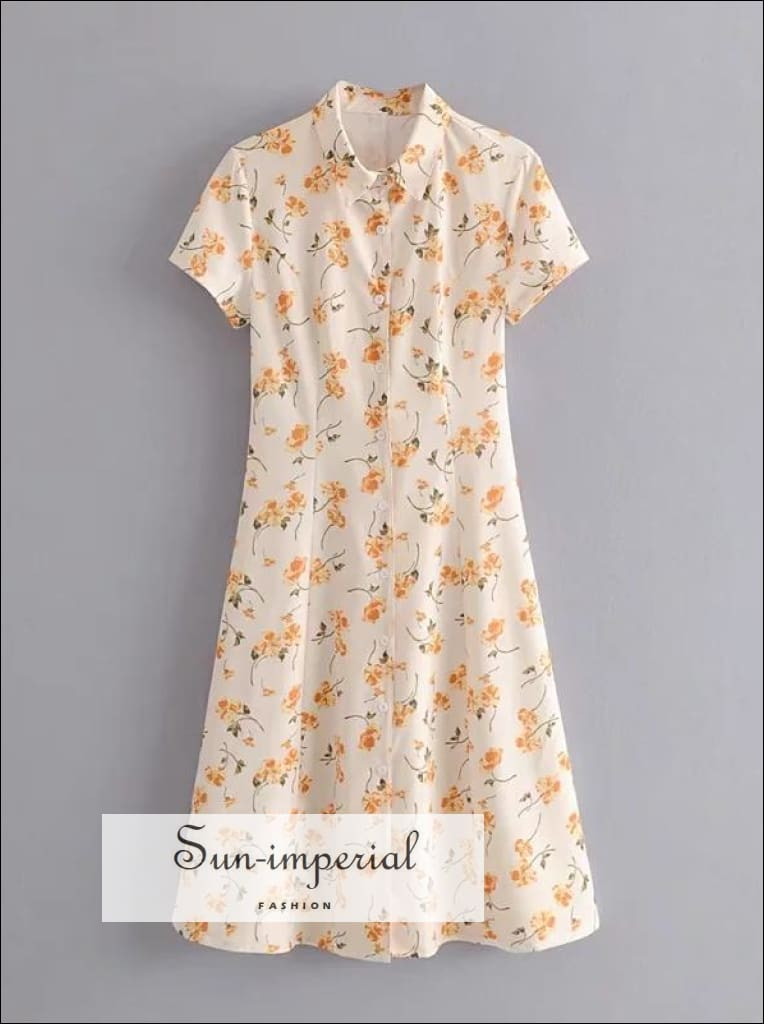 Vintage Short Sleeve Yellow Floral Dress Buttoned Midi Casual Dress
