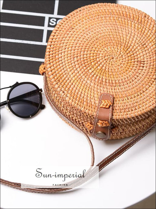 Vintage Small Round Crossbody Beach Bag Circle Bohemian Shoulder SUN-IMPERIAL United States