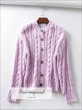 Vintage Soft Mauve Knitted Cardigan Center Buttoned Women Sweater Loose Cut SUN-IMPERIAL United States