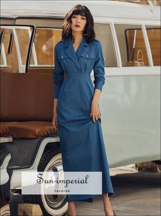 Vintage Solid Denim Long Sleeve Ankle Length Dress unique style, vintage style SUN-IMPERIAL United States