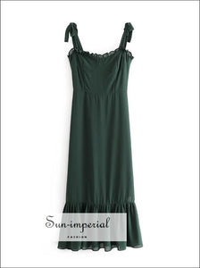 Vintage Solid Green Corset Style Tie Strap Midi Dress Sheer Ruffles Decor Edge Detailing SUN-IMPERIAL United States
