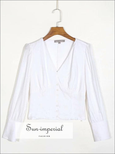 Vintage Solid White Long Sleeve Buttoned V Neck Women Blouse SUN-IMPERIAL United States