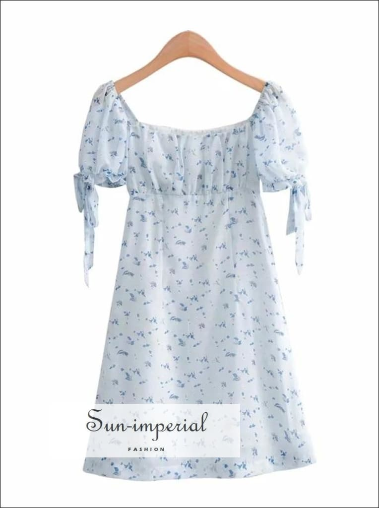 Vintage Square Neck Blue Floral Print Mini Dress with Tie Ruched Sleeve ruched SUN-IMPERIAL United States