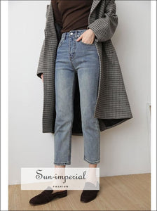 Vintage Straight Jeans Women Ankle Length Washed Cotton Denim Blue jean SUN-IMPERIAL United States