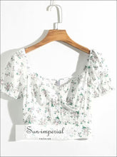 Vintage Summer White Floral Crop top V-neck Short-sleeved Slim Cut Women Blouse