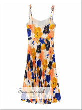 Vintage Tie Dye Strap V Neck Floral Multi Color Backless Midi Dress