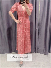 Vintage V-neck Floral Red Midi Buttoned Dress with Short Flared Puff Sleeve vintage style SUN-IMPERIAL United States
