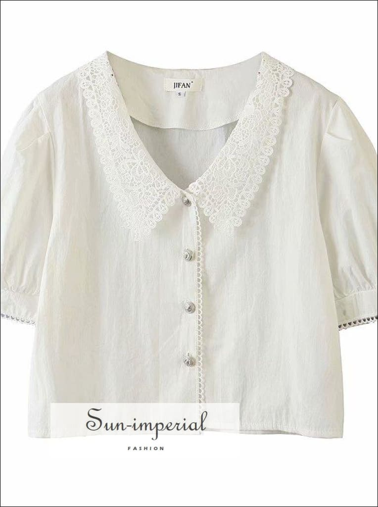 Vintage White Collar Center Buttoned Women France Cut Blouse