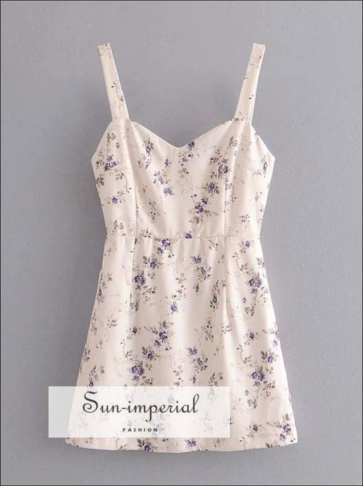 Vintage White Dress Purple Floral Print Bodycon Cami Strap front Split Mini SUN-IMPERIAL United States
