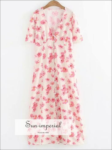 Vintage White Dress with Pink Floral Print V-neck Short-sleeved Maxi Dress